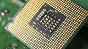 Close-up of cpu computer processor.  stock footage