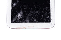 Close up crack table device. Cause by fall on the floor stock photo