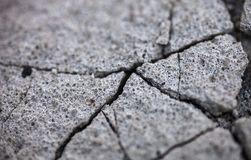 Close up of the cracked concrete surface Royalty Free Stock Photography