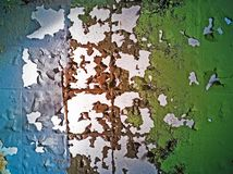Close-up of cracked paint on metal wall stock photos