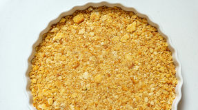 Close up of cracker crust. In the circle dish : top view Royalty Free Stock Photo