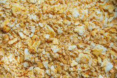 Close up of cracker crust. Preparation of dessert Royalty Free Stock Photo