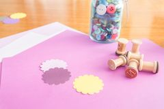 Close up of craft paper and craft supplies stock photos