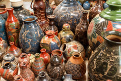 Close up of craftmanship ceramics. Handmade ceramic crafts group in detail royalty free stock photos