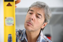 Close-up of craftsman working on home improvement Royalty Free Stock Photo