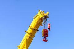 Close up of crane at construction site Royalty Free Stock Photo