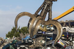 Close up of a Crane grab in a Scrapyard Royalty Free Stock Photography