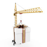Close-up crane with hanging gift Stock Images