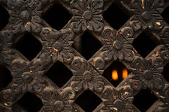 Close up of craved wooden window Stock Photo
