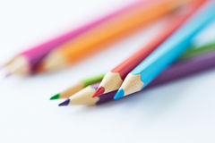 Close up of crayons or color pencils Royalty Free Stock Image