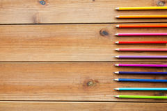 Close up of crayons or color pencils on wood Royalty Free Stock Photos