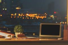 Designer desktop with empty laptop royalty free stock photo