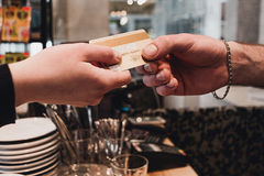 Close-up of credit card in humans hand Royalty Free Stock Photo