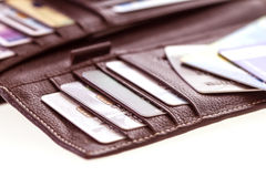 Close up credit cards in the Black leather wallet Royalty Free Stock Photography