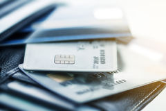Close up credit cards in the Black leather wallet Stock Image