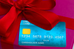 Credit cards on gift box Royalty Free Stock Photo