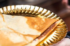 Close-up of a crepe. Close-up of a chocolate crepe stock photography