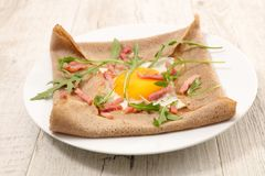 Crepe with egg royalty free stock photography