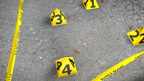 Close-up Crime Scene With Shells. A captivating 3d illustration of a crime scene with shot shells from revolver cartridges on gray asphalt. The yellow stripe and Royalty Free Stock Photography