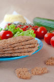 Close up of crispbreads on the plate Royalty Free Stock Images