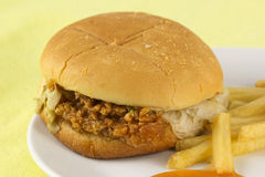 Close up crispy chicken burger with french fried Royalty Free Stock Photography
