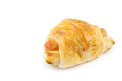 Close up  croissant with hot dog. On white background Stock Image