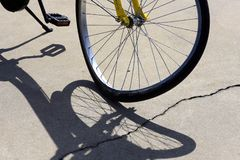 Close-up of crooked bicycle wheel royalty free stock images