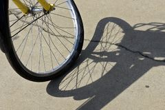 Close-up of crooked bicycle wheel royalty free stock photography