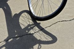 Close-up of crooked bicycle wheel stock photography