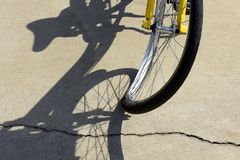 Close-up of crooked bicycle wheel stock image