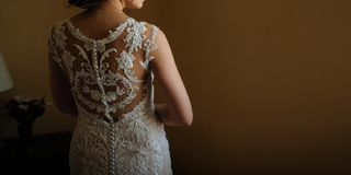 back of a beautiful bride stock image