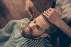 Close up cropped photo of a hairdresser`s work for an attractive royalty free stock image