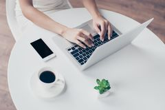Close up cropped photo of nice hands of woman typing on the laptop at the top of white table with phone and coffee, plant stock photos