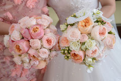 Close-up cropped shot of young Caucasian bride and bridesmaid holding a large round wedding bouquet each featuring pastel peonies. Horizontal shot of two Stock Photography