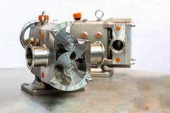 Close up cross section show detail inside of High technology and quality rotary or lobe gear vacuum pump for industrial on table stock image