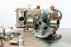 Close up cross section show detail inside of High technology and quality rotary or lobe gear vacuum pump for industrial on table stock photography