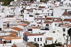 A close up cross section of white houses in the village of Mijas. A close up cross section of houses in the white village of Mijas Pueblo in Spain, Malaga royalty free stock photos