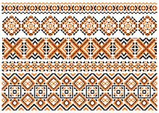 Close up cross stitch ethnic borders and patterns Royalty Free Stock Photos