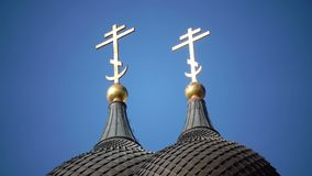 Close up of crosses on domes Alexander Nevsky Cathedral is an orthodox cathedral in Tallinn Old Town, Estonia. It was. Alexander Nevsky Cathedral is an orthodox stock video