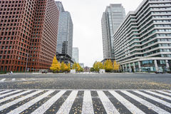 Close up crosswalk surrounded by commercial buildings in Tokyo station Royalty Free Stock Images