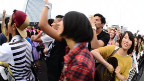 Close up of Crowd at Electronic Music Festival Tokyo Japan stock footage