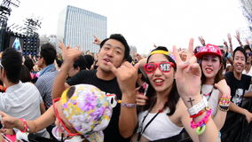 Close up of Crowd at Electronic Music Festival Tokyo Japan stock video