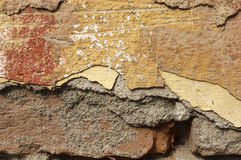 Close up of crumbling  wall with layers of peeled paint 2 Stock Images