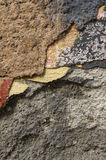 Close up of crumbling  wall with layers of peeled paint 8 Royalty Free Stock Image