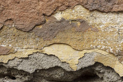 Close up of crumbling  wall with layers of peeled paint 3 Royalty Free Stock Images