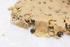 Close-up of crumbly chocolate chip cookie dough Stock Image