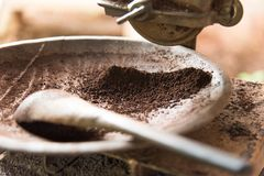 Close up Crushed Coffee Bean Powder in old vintage Coffee grinder Royalty Free Stock Image