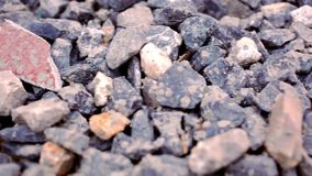 Close-up of crushed gravel. Macro video shift stock video