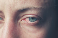 Close up on crying eyes of woman Royalty Free Stock Photo