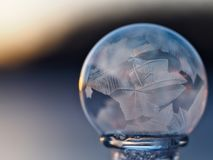 Close-up of Crystal Ball Against Blue Background Royalty Free Stock Image